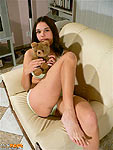 Brunette showing feet